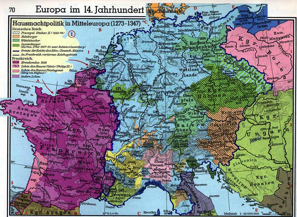 14th Century Map Of Europe.Europe In The 14th Century Political Map Of Western Europe