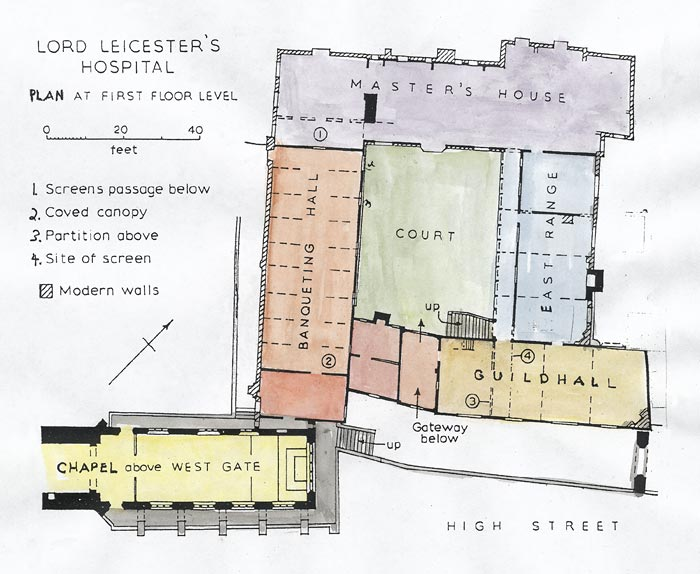 Great Britain, Warwick, Lord Leicester Hospital, Plan on green plan, church plan, salvation plan,